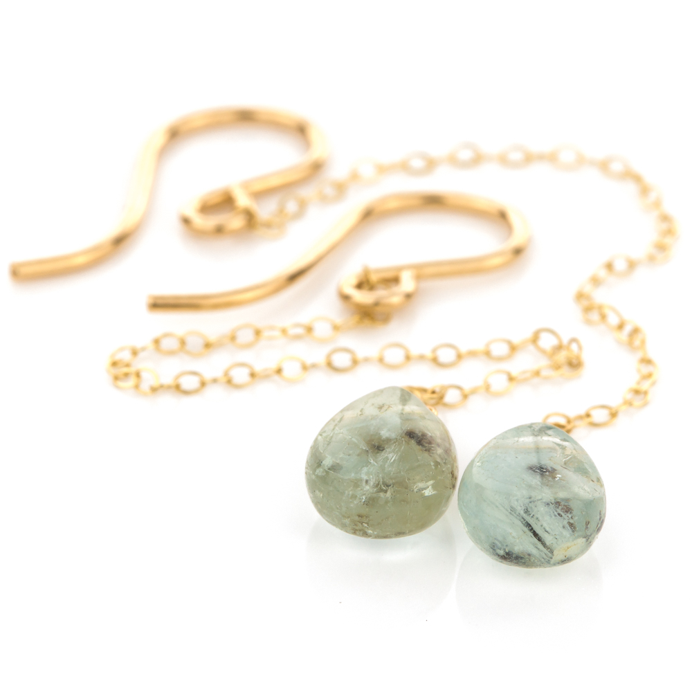Rain Drop Earring in Natural Aquamarine
