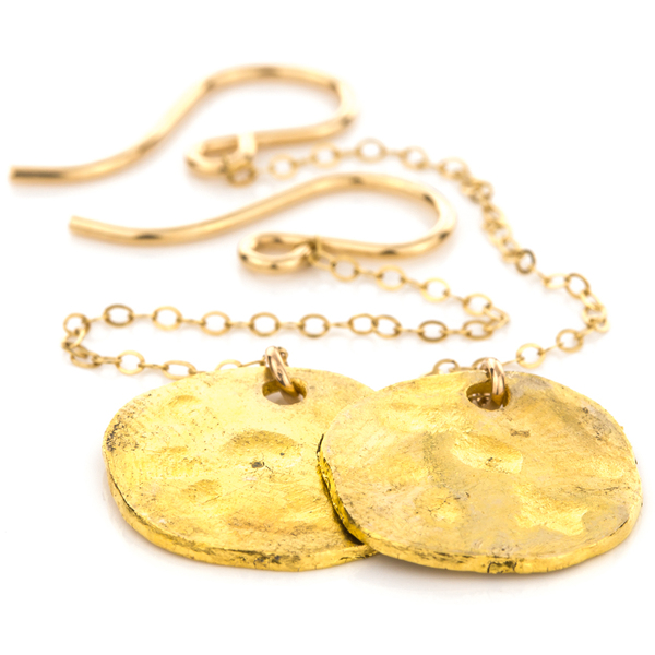 Hand Hammered Gold Disc Earring