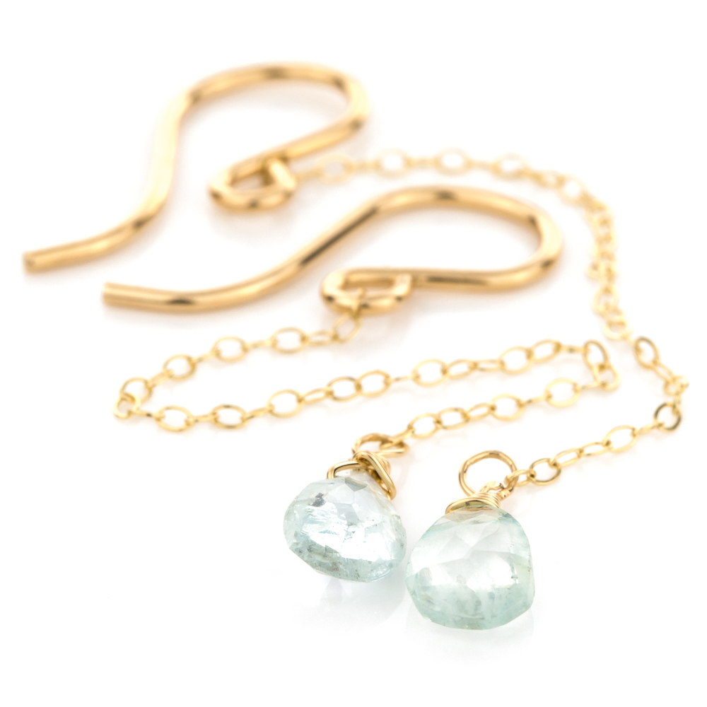 Rain Drop Earrings in Aquamarine