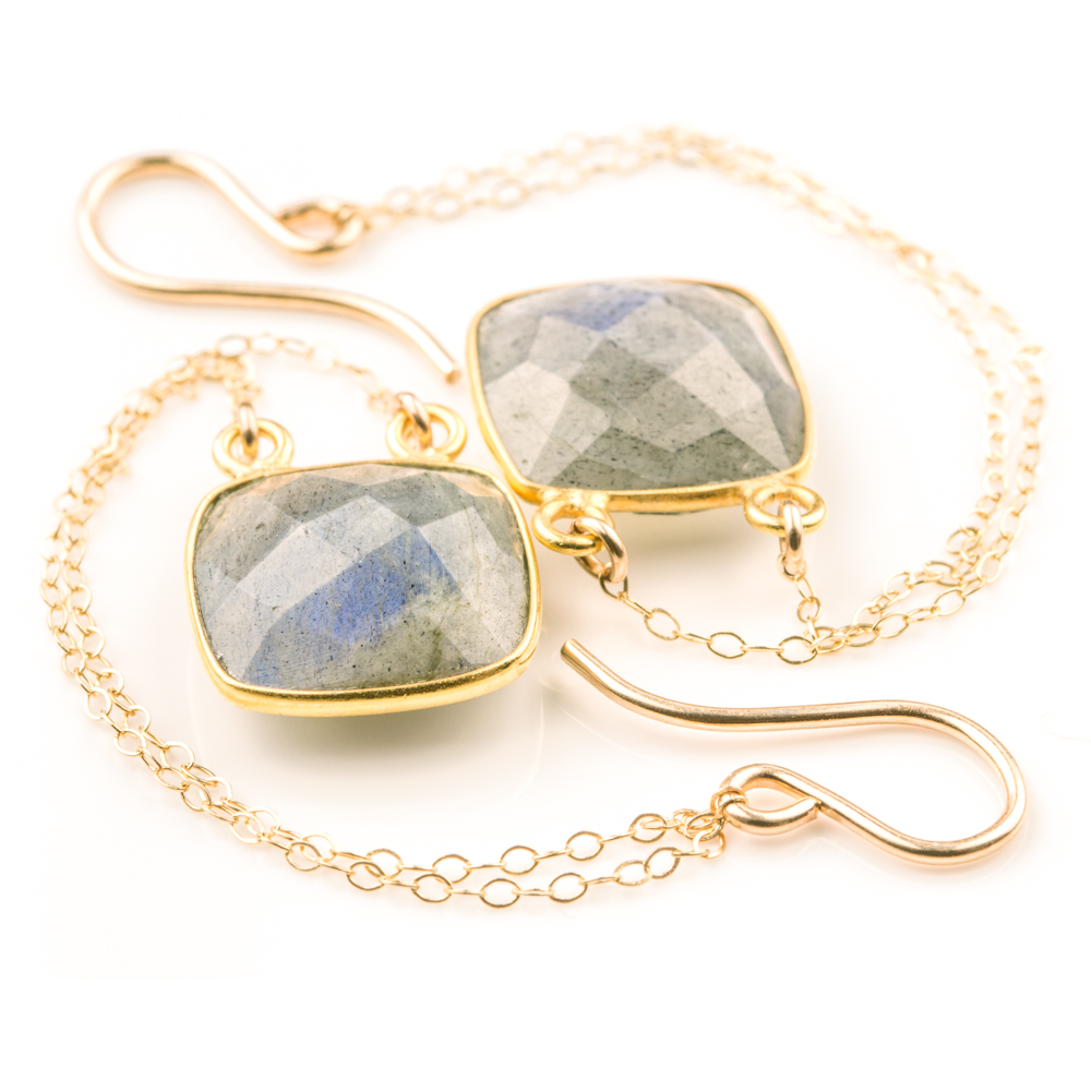 Bezel Set Labradorite Square Earrings (BSLSQD2)