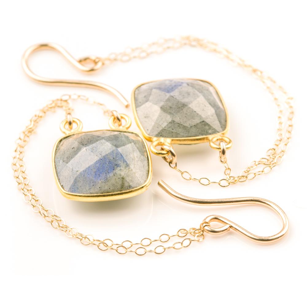 Bezel Set Labradorite Square Earrings (BSLSQD2)