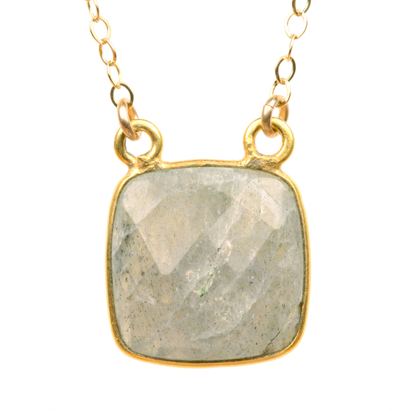 Bezel Set Labradorite Square Necklace (BSLSQN)