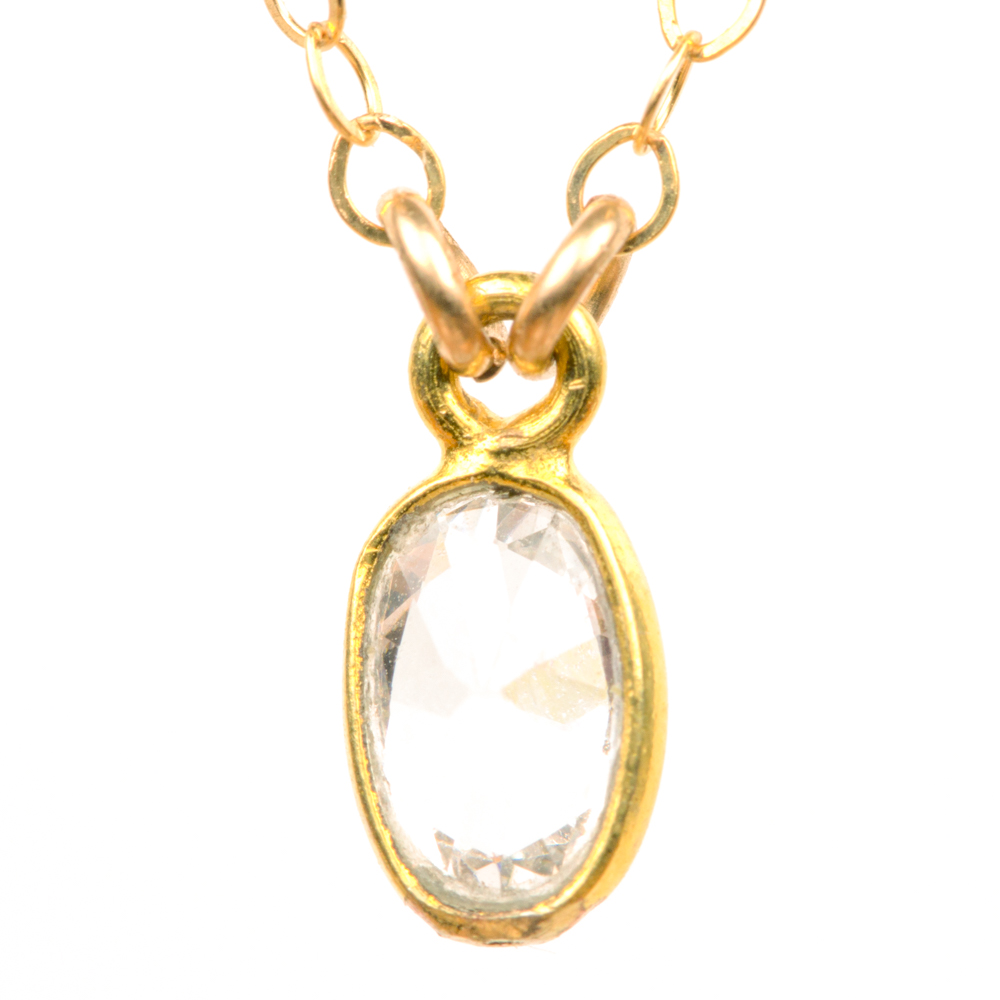 Bezel Set White Topaz Oval Necklace (BSWTON)