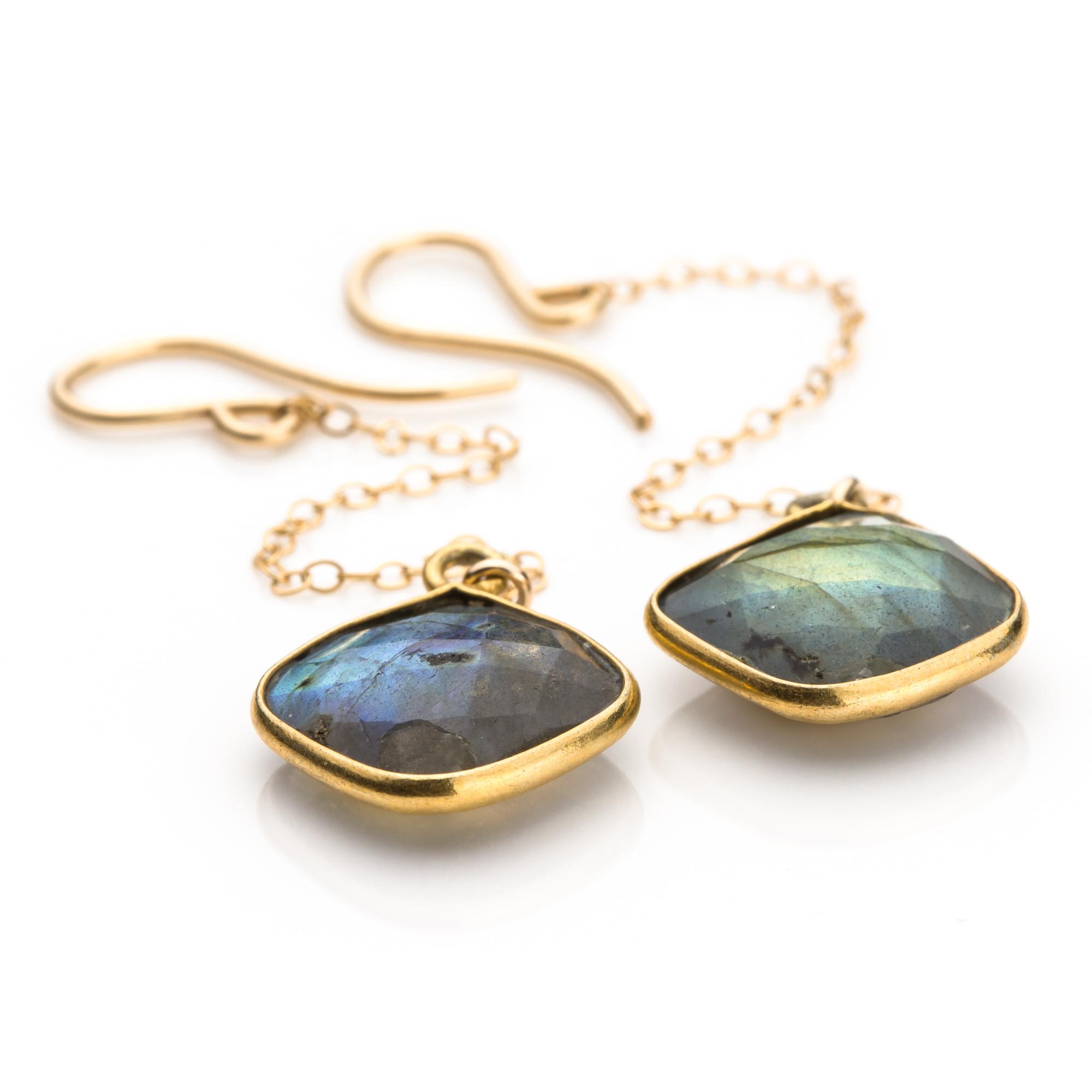 Bezel Set Labradorite Diamonds