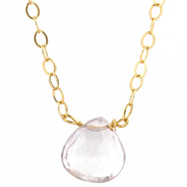 Rain Drop Necklace in Pink Amethyst