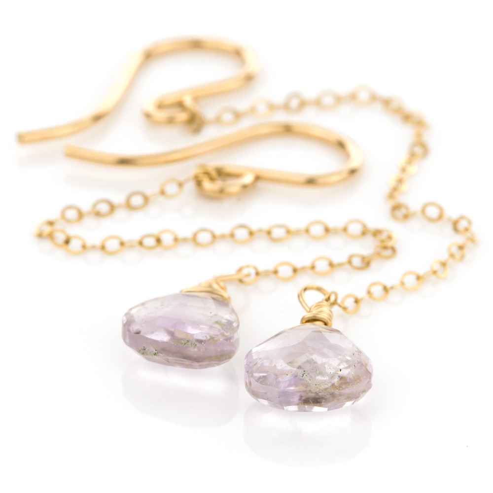 Rain Drop Earrings in Pink Amethyst
